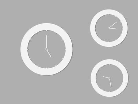 A set of black and white round clocks with different times for logo and icon vector illustration  イラスト・ベクター素材