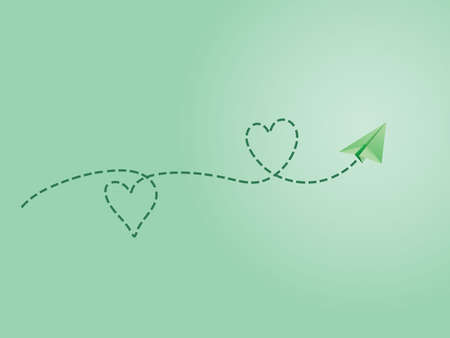 A green folded paper plane making love sign route to show happy travel emotion vector illustration