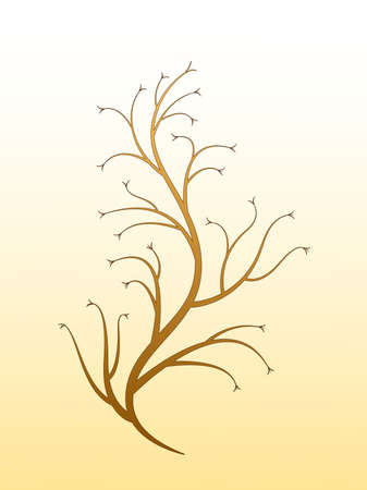 A golden tree plant design with branches and flowers vector illustration Illustration