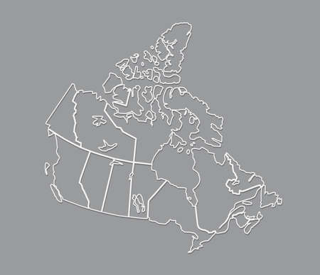 Black and white Canada map with outlines showing different states and regions vector illustration