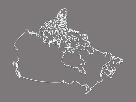 A simple and cool black and white Canada map with outlines vector illustration