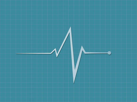 A blue heart beat sign displaying in cardiograph monitor to diagnosis heart condition in hospital bed vector illustration