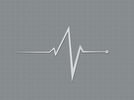 A gray or black and white heart beat sign displaying in cardiograph monitor to diagnosis heart condition in hospital bed vector illustration Illustration