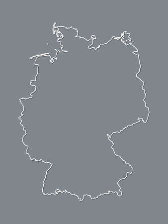 A black and white German map with single border line and shading on dark background vector illustration