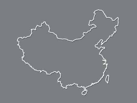 Black and white China map with single border line of the whole country on dark background vector illustration