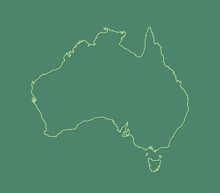 A green Australia map with single border line on dark background vector illustration 일러스트