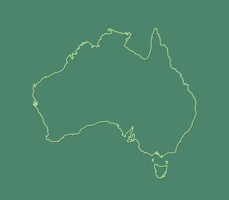 A green Australia map with single border line on dark background vector illustration Illustration