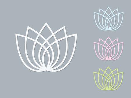 A set of light colors lotus flower logos on dark background vector illustration Archivio Fotografico - 137730215