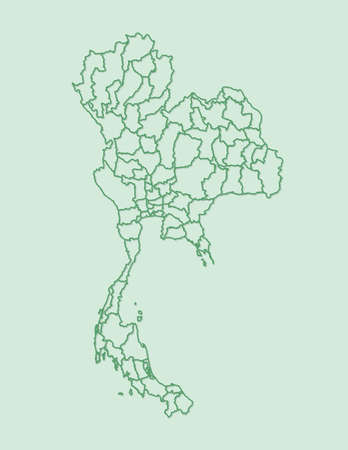 Green color Thailand map with borders of Provinces on light background vector illustration