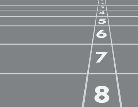 Black and white horizontal racing track lines with numbers in the field for competition in the race from start vector illustration