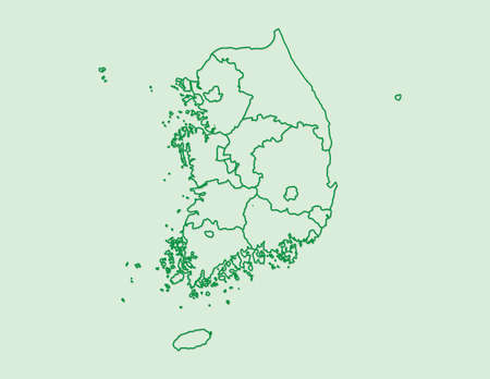 Green South Korea map with border lines of different provinces on light background vector illustration Illustration