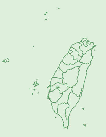 Green Taiwan map with border lines of different provinces on light background vector illustration Illustration