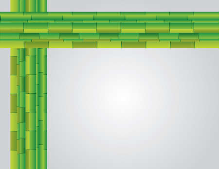 Presentation slide background design using green bamboo plants vector illustration