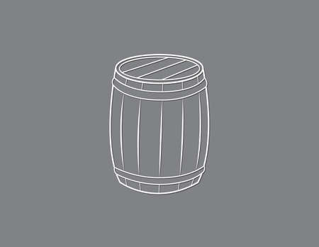 A white vintage wooden barrel to store valuable things on black background vector illustration