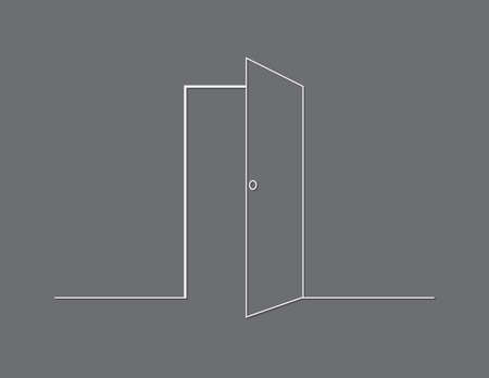 A white open door with wall on black background vector illustration