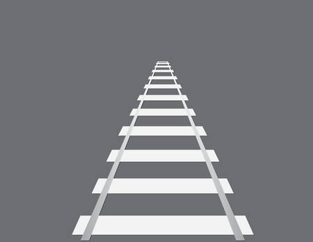 A white color railroad for traveling long distance and reaching destination on black background vector illustration