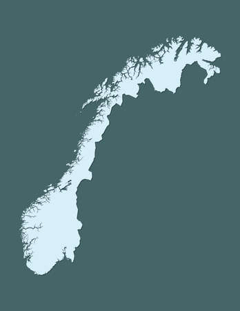 Blue color Norway map with shadow on dark background vector illustration