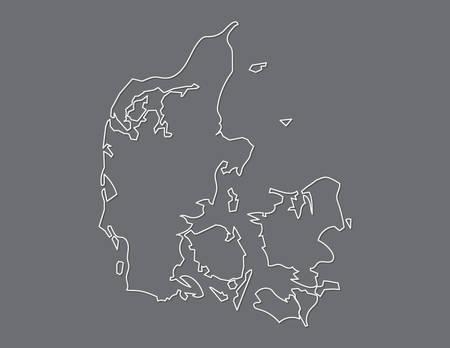 Denmark map vector using white border lines on dark background illustration  イラスト・ベクター素材