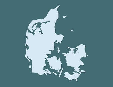 Denmark map vector using blue border lines on dark background illustration Ilustrace