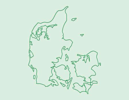 Denmark map vector using green border lines on light background illustration