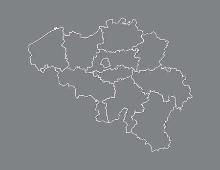 Belgium map with provinces using white lines on dark background vector illustration