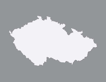 White color Czech Republic map vector with single border on dark background illustration