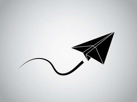A black origami aircraft made with paper flying smoothly vector illustration on white background for business and industry