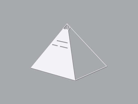 Pyramid of Giza in Egypt vector illustration using white color lines on dark gray background