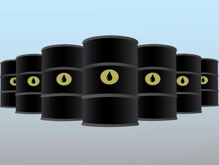 Many oil barrels arranged in rows vector illustration for business industry on light background