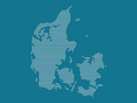 Denmark map vector with simple straight lines on blue background illustration Ilustrace