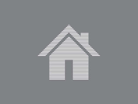 Home vector icon for real estate business using straight lines on black color background illustration