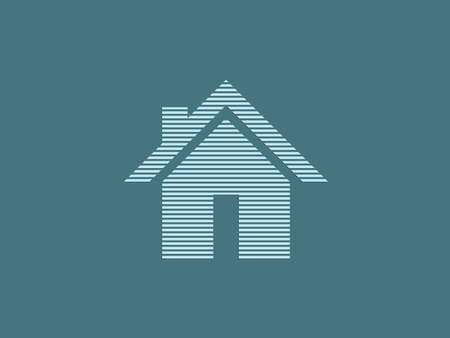 House vector logo for real estate business using straight lines on blue background illustration