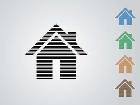 A set of colorful home vector icons for real estate business using straight lines on white background illustration