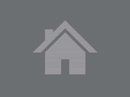 House vector logo for real estate business using straight lines on gray background illustration