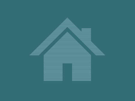 Home vector icon for real estate business using straight lines on blue color background illustration