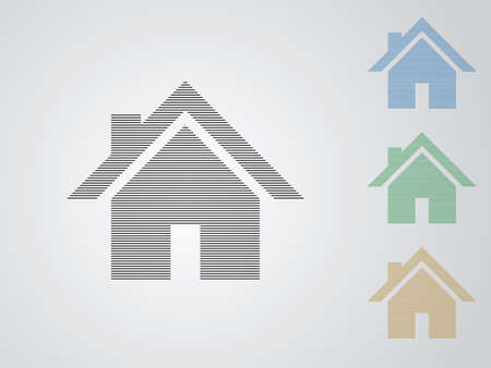 A set of colorful house vector logos for real estate business using straight lines on white background illustration