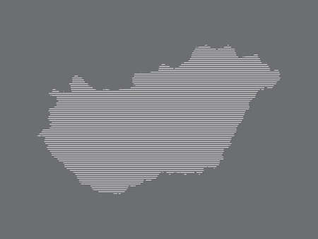 Hungary map vector illustration using simple straight lines of white color on dark background