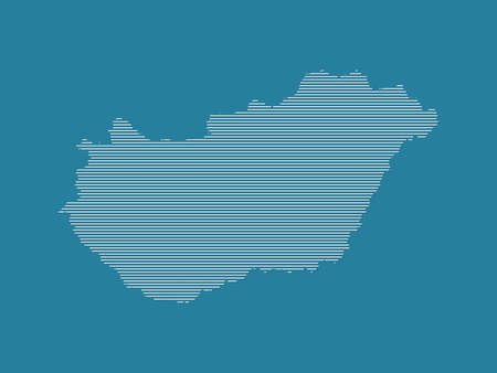 Hungary map vector illustration using simple straight lines of white color on dark blue background