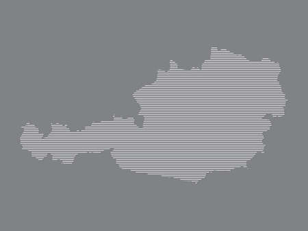 Austria map vector with simple straight lines on black background illustration Ilustrace