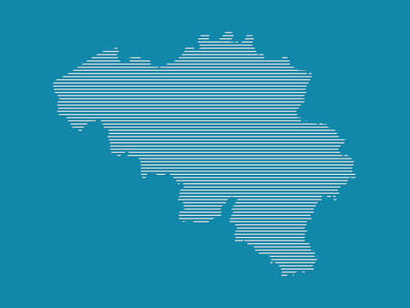 Belgium map vector with simple straight lines on blue background illustration Ilustrace