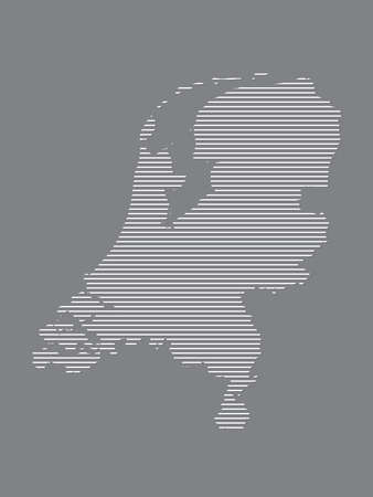 Netherlands map vector with simple straight lines on black background illustration Ilustrace