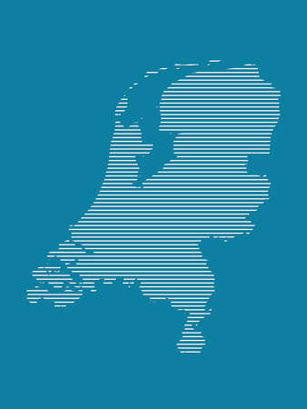 Netherlands map vector with simple straight lines on blue background illustration Ilustrace