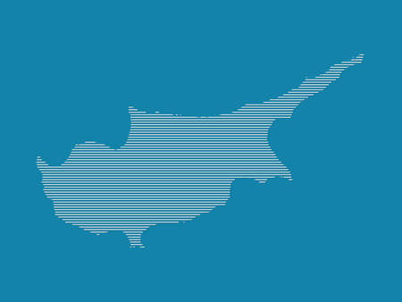 Cyprus map vector with simple straight lines on blue background illustration
