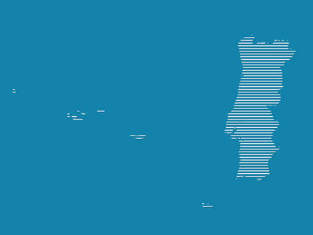 Portugal map vector with simple straight lines on blue background illustration