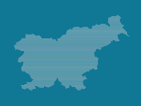 Slovenia map vector with simple straight lines on blue background illustration