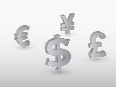 Major currencies of the world including dollar, pound, euro and yen in gray color vector illustration Ilustração