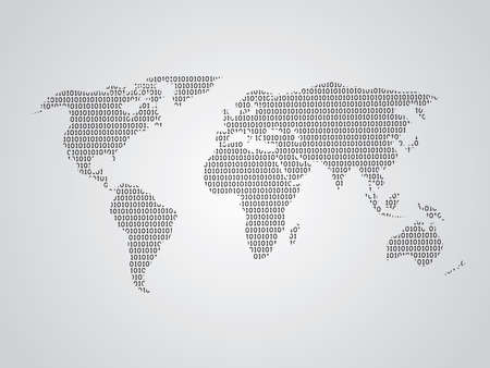 World map vector illustration using binary numbers or signs to represent digital globe