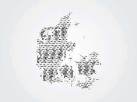 Denmark vector map illustration using binary digits or numbers on light background to mean digital country and advancement of technology Ilustrace