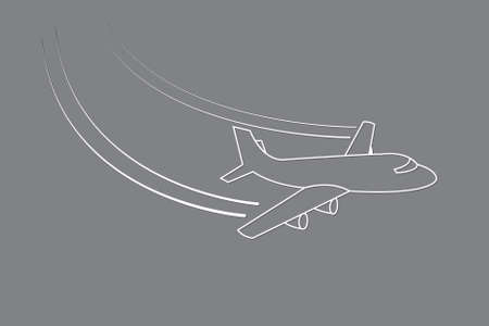 Aircraft flying with changing direction using lines on black background vector illustration for transport industry