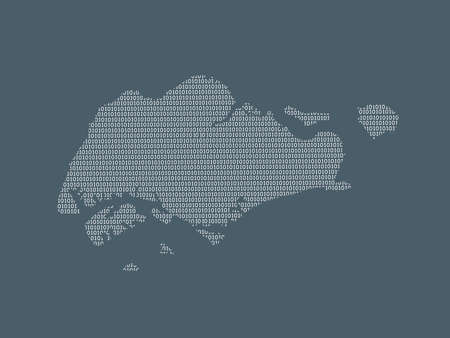 Singapore vector map using white binary digits on dark background to mean digital country and the advancement of technology illustration 일러스트